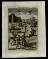 Christian Slaves tortured Propaganda 1683 Mallet remarkable hand colored print
