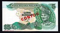 Malaysia 5 Ringgit ND (1986) SPECIMEN  CONTOH #40 GEM UNC Note P.28a .28as Rare