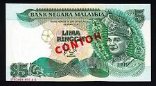 Malaysia 5 Ringgit ND (1986) SPECIMEN  CONTOH #40 GEM UNC Note P.28a .28as Rare