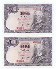 More details for 2x consecutive au spanish 5,000 pesetas banknotes 1978 issue, 6/2/76 spain a unc