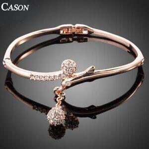 Dolphins Design Bangle Jewelry Fashion 18K Rose Gold Austrian Crystal Bracelet