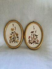 Set Two Vintage Framed Pressed Dried Flower Art Picture Reichlin Switzerland