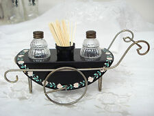 Vintage Painted Metal Cafe Bistro Cart w/ Glass Salt & Pepper Shakers