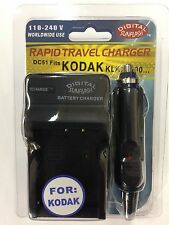 KODAK KLIC7000 DC51 Battery Wall & Car Charger by Digital Sunflash - Black