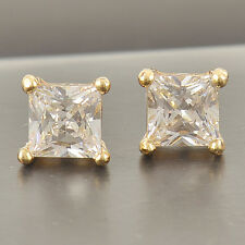 Cool 9K Solid Gold Filled Square Cubic Zirconia Men's Stud Earrings,5mm,Z2547