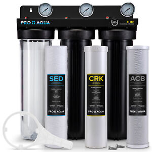 """Pro Aqua ELITE 3 Stage Whole House Well Water Filter System, Gauges, 1"""" Ports"""