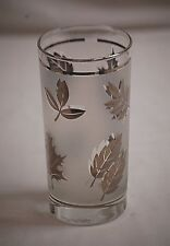 Old Vintage Silver Leaf by Libbey 12 oz. Flat Tumbler Silver Leaves Frosted Band