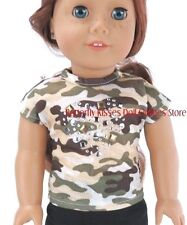 Camo Military T-Shirt w/Stud Heart 18 in Doll Clothes Fits American Girl