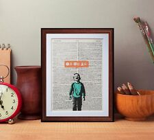 Banksy More likes crying boy dictionary page art print reading books gift