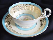 Vintage Wide Mouth Roses/Blue & Gold Royal Grafton Bone China Teacup & Saucer