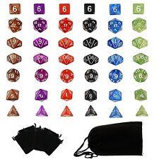 6 Set Polyhedral RPG Game Dice 6 Colors 4D 6D 8D 10D 12D 20D 42pcs & 7 Bags