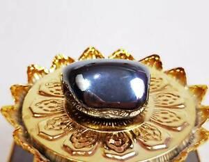Shiny Black Leklai Stone Amulet Kodpee Power Buffalo Mountain Cave Laos Magic