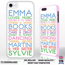 Personalised Word Art Your Name Loves List Hard Case Cover for iPhone Samsung