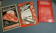 Vintage Booklets How to Play Harmonica 1927 1936 1979 great retro graphics
