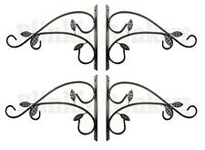 4 HANGING BASKET BRACKETS ORNATE OUTDOOR GARDEN WALL SET OF HOOKS HANGERS 31D