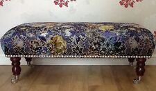 A Quality Long Footstool In Designers Guild Zambelli Cobalt Velvet Fabric