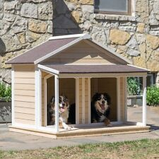 Duplex Dog House Outdoor Large Wood Shelter Roomy Double Kennel Extra Flat Cage