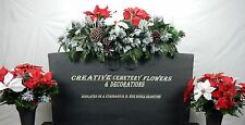 Double Cemetery Flower Grave Headstone/Tombstone Saddle + Matching Vase Bushes