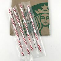 Starbucks Reusable Straws Holiday Candy Cane 2018 Sealed Quantity Four New