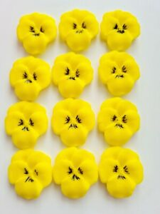 12 Edible Sugar Flowers in Yellow, Viola Pansies, Mother's Day Topper