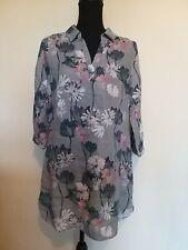 Ladies Size 12 White Stuff Grey Floral 3/4 Sleeve Linen Tunic <LR994
