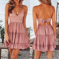 Women Summer Boho Backless Mini Dress Slim Evening Party Cocktail Beach Sundress