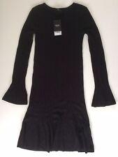 Womens Next Black Thin Knit Jumper Dress, Size 8, Bnwt