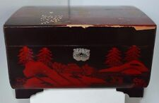 Vintage Chinese Asian Black Laquer Mother of Pearl Musical Jewelry Box