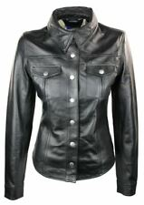 Ladies 100% Leather Jacket Shirt Style Black Short Fitted Retro