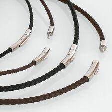 Lederkette Halskette Armband Leder geflochten Damen Herren Halsband schwarz bio