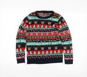 Preworn Boys Blue Fair Isle  Pullover Jumper Size 9 Years  - Christmas
