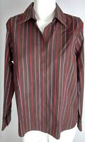 TALBOTS Women's Blouse 12 Petite Brown Red Pink Striped Long Sleeve Stretch