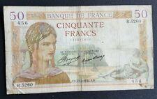 FRANCE - FRANCIA - FRENCH NOTE - BILLET DE 50 FRANCS CERES 3/12/1936.