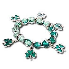 St. Patrick's Day Novelty Shamrock Charm Bracelet Green