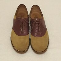 Womens GH Bass Emmie Saddle Shoes Oxford Suede Leather Tan/Oxblood Size 9 M