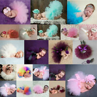 Newborn Baby Girl Boy Tutu Skirt&Headwear Swaddle Photography Photo Props Outfit