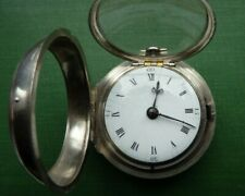 Pocket Watch 1772 Serviced + Key. Quite Early Silver Pair Cased Verge Fusee