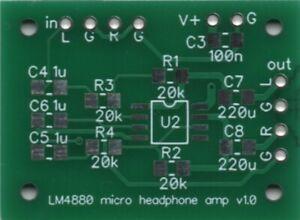 KMTech Micro LM4880 Micro Headphone Amplifier 37mm x 27mm PCB DIY