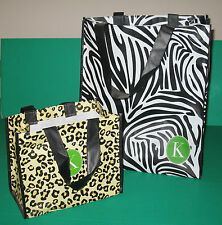 "Set of 2 Reusable Gift Bags Shopping Bags Leopard & Zebra ""K"" Tri Coastal Design"