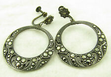 "Vintage Sterling Silver Marcasite Hoop Circle 1 5/8"" Dangle Earrings"