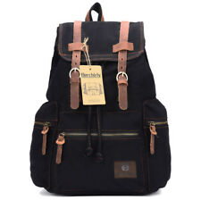 Men Women Military Large Vintage Canvas Leather Backpack Bag School Travel