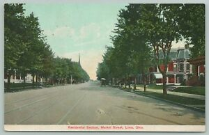 Lima Ohio~Market St Residential Section~c1910 Postcard