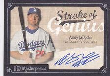 2007 UD Masterpieces Stroke of Genius Signatures #AL Andy LaRoche Auto