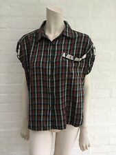 Ralph Lauren Denim & Supply Plaid Check Beaded Shirt Blouse Top