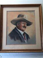 Original Pastel Painting John Wayne Portrait by Robin, Signed, Framed