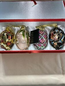 Joan Rivers Classic Collection Set 4 Russian Egg Glass Christmas Ornaments