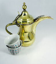 Brass copper authentic Dallah Arabic coffee potدلة قهوه عربيه with 6 free Cup