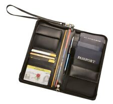 Personalised Monogrammed Leather Family RFID Travel Wallet + Free Luggage Tag