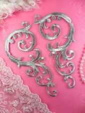"""Embroidered Appliques Silver Mirror Pair Iron On Dance Patch 6.75"""" (GB401)"""