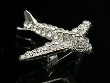 sparkly white crystal jet airplane aircraft scarf brooch pin Birthday gift D36